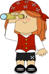 cartoon drawing of girl pirate