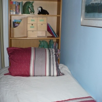 photo of twin bed with nautical bedspread and bookshelf headboard