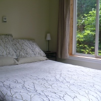 Photo of queen bed with tree patterned duvet and shams, and a large window to the right with greenery outside at Ahoy Guesthouse, Protection Island