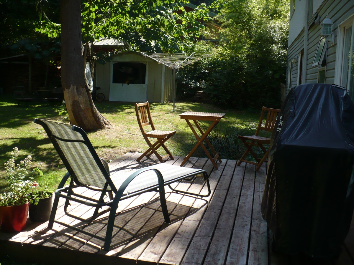 photo of lounger, propane BBQ, and parts of backyard